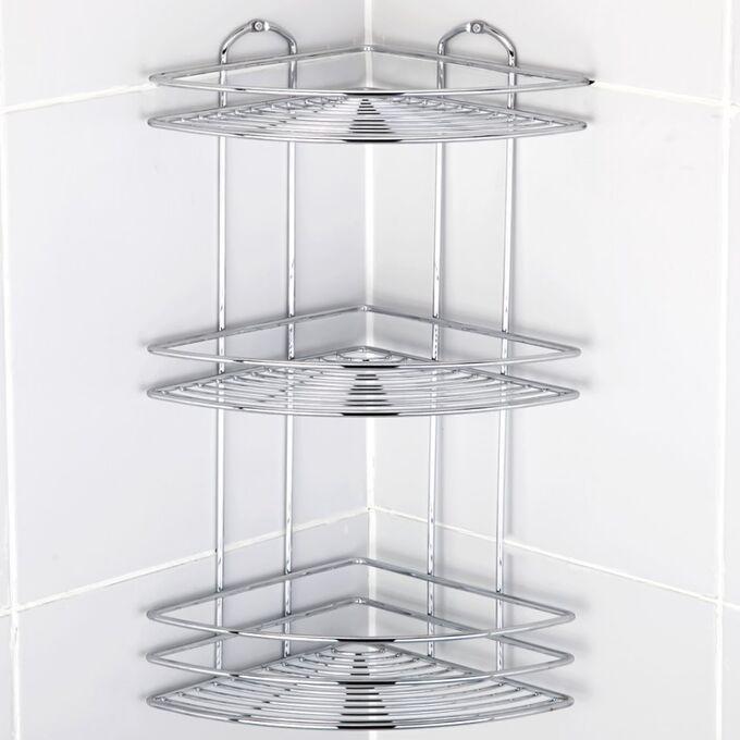 TEKNO-TEL Γωνιακή Ραφιέρα Μπάνιου INOX (Ανοξείδωτο Ατσάλι) 3όροφη 27x19x46cm Βάρος 1.20kg Πάχος Ø5mm