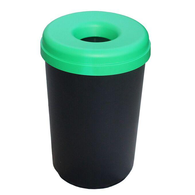 Κάδος Ανακύκλωσης 60lt Ø41x62.5cm 1.91kg Πλαστικός με Άνοιγμα Ø14cm στο Καπάκι Μαύρο-Πράσινο Ελλάδας