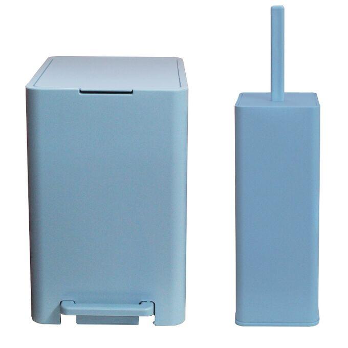 Σετ Κάδος Μπάνιου με Πεντάλ 13.5lt με Εσωτερικό Κάδο 7lt και Πιγκάλ Πλαστικό SOFT CLOSE Σιέλ Ελλάδας