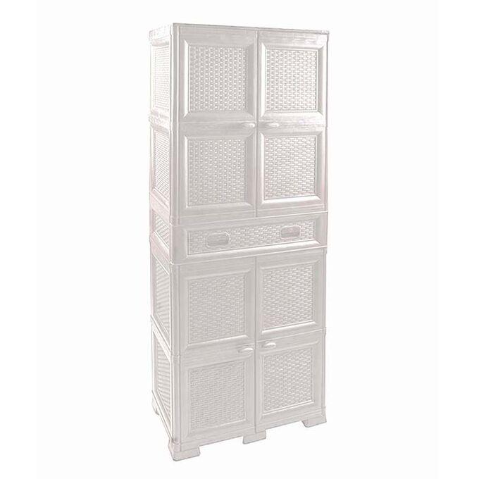 Πλαστική Ντουλάπα 24kg 70x41x186, ΕΠΙΠΛΟ σε RATTAN ( ψάθα), Τετράφυλλη με 4 χώρους + Πλαστικό συρτάρι, MASSIF Λευκή