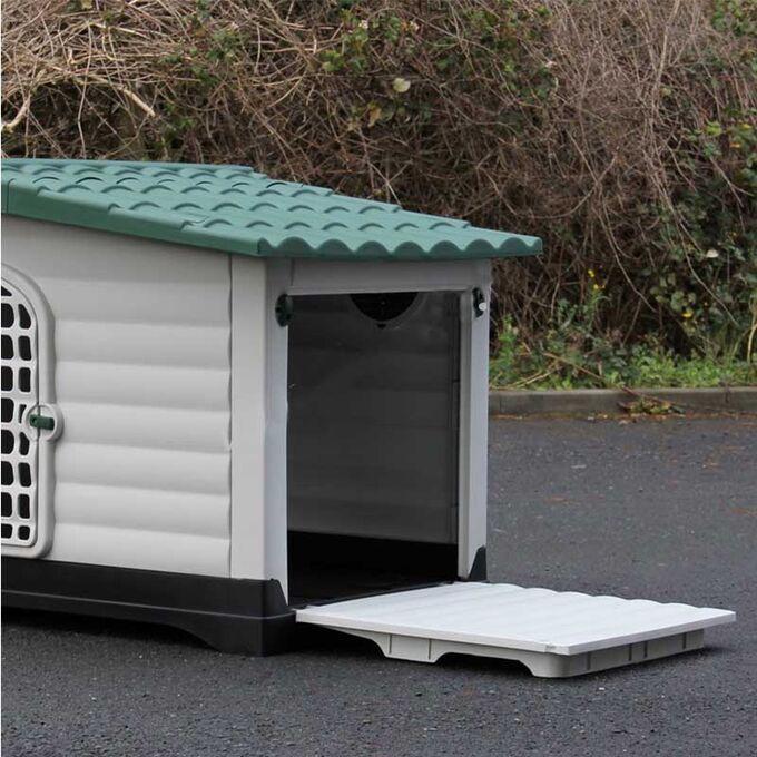 Σπίτι Σκύλου XLARGE 111x83.8x80.4cm με Πορτάκι Ασφαλείας και Ανοιγόμενη Πλευρά 15.6kg Λευκό Πάγου-Πράσινο VESTA