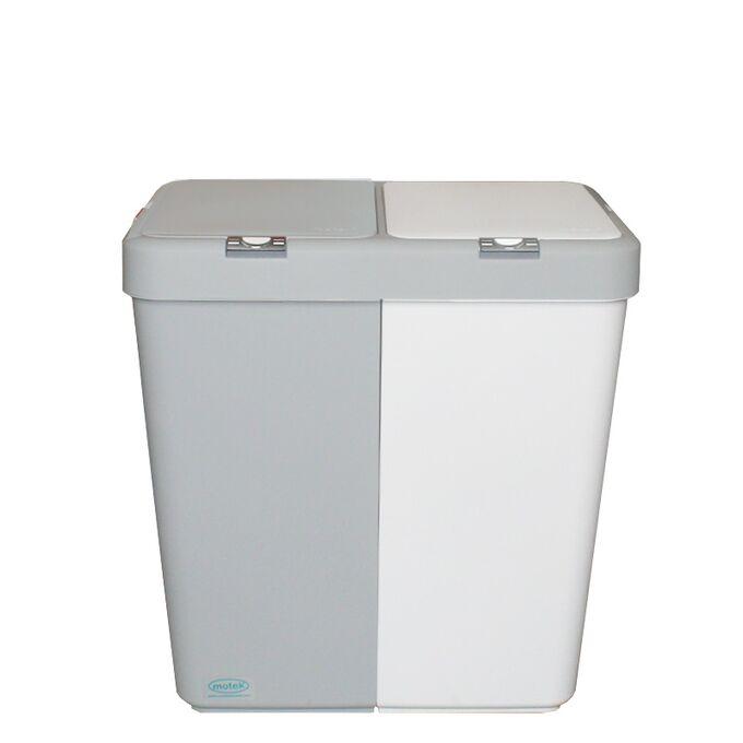 Καλάθι Απλύτων Διπλό 80lt 54x34.5x57cm Πλαστικό Με Διπλό Καπάκι 3.12kg Λευκό-Γκρί