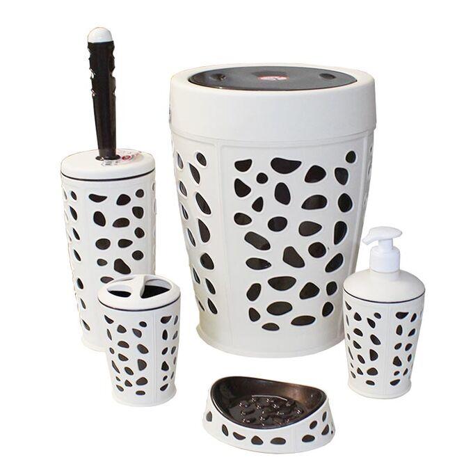 ΣΕΤ Κάδος Μπάνιου με Παλλόμενο Καπάκι Ø23x31cm + Πιγκάλ + Σαπουνοθήκη + Οδοντοβουρτσοθήκη + Dispenser Πλαστικό Μπεζ-Καφέ