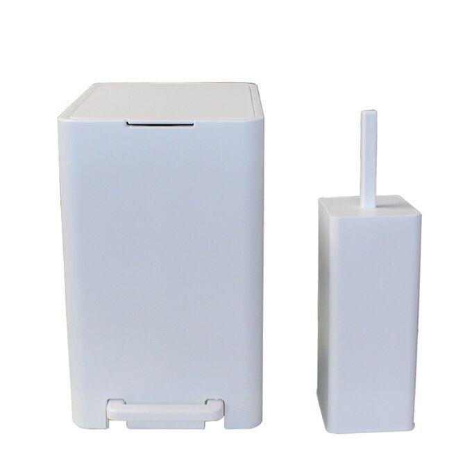 Σετ Κάδος Μπάνιου με Πεντάλ 17lt με Εσωτερικό Κάδο 10lt και Πιγκάλ Πλαστικό SOFT CLOSE Λευκό Ελλάδας