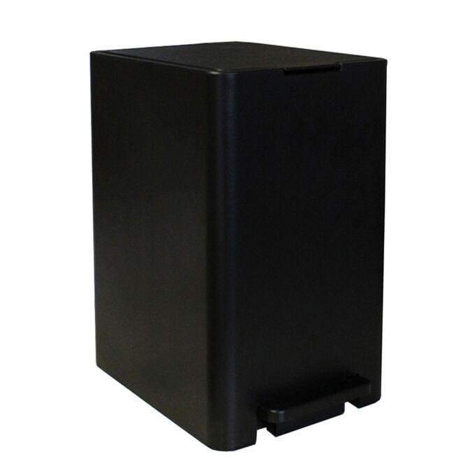 Κάδος Μπάνιου με Πεντάλ 17lt 18.5x26x37cm με Εσωτερικό Κάδο 10lt 1.04kg Πλαστικό SOFT CLOSE Μαύρο Ελλάδας