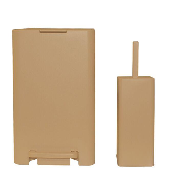 Σετ Κάδος Μπάνιου με Πεντάλ 17lt με Εσωτερικό Κάδο 10lt και Πιγκάλ Πλαστικό SOFT CLOSE Μπεζ Άμμου Ελλάδας