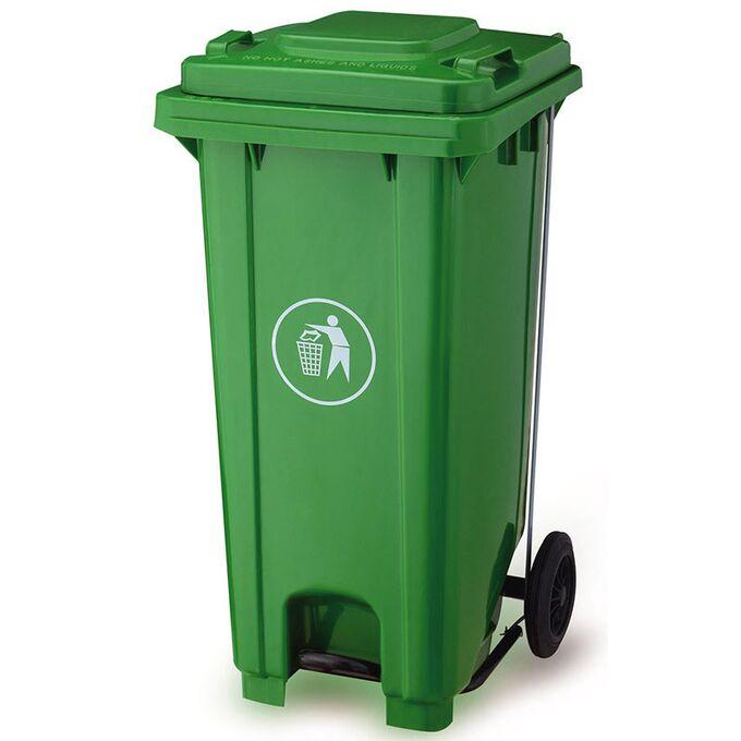 Κάδος Απορριμάτων 120lt με Ρόδες+Πεντάλ 47x55x95cm Πλαστικός ΒΑΡΕΟΥ ΤΥΠΟΥ 10kg Επαγγελματικός/Οικιακός-Κήπου Πράσινος