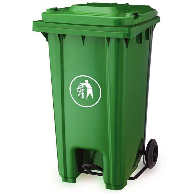 Κάδος Απορριμάτων 240lt με Ρόδες+Πεντάλ 58x72x107cm Πλαστικός ΒΑΡΕΟΥ ΤΥΠΟΥ 16.5kg Επαγγελματικός/Οικιακός-Κήπου Πράσινος