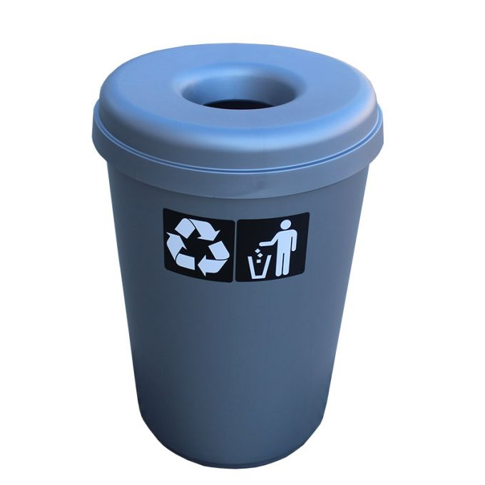 Κάδος Ανακύκλωσης 60lt Ø41x62.5cm 1.91kg Πλαστικός με Άνοιγμα Ø14cm στο Καπάκι Γκρί Ελλάδας