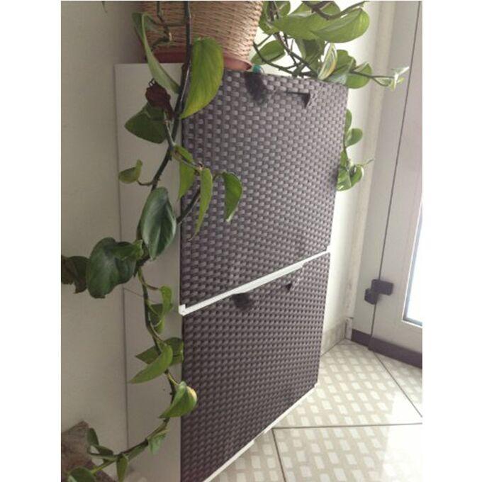 Παπουτσοθήκη Πλαστική Συναρμολογούμενη 51x17.3x41cm για 3 Ζευγάρια 2.5 kg RATTAN UNIKA Γκρι Καφέ - Μπεζ Ιταλίας