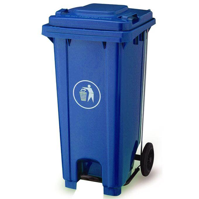 Κάδος Απορριμάτων 120lt με Ρόδες+Πεντάλ 47x55x95cm Πλαστικός ΒΑΡΕΟΥ ΤΥΠΟΥ 10kg Επαγγελματικός/Οικιακός-Κήπου Μπλε