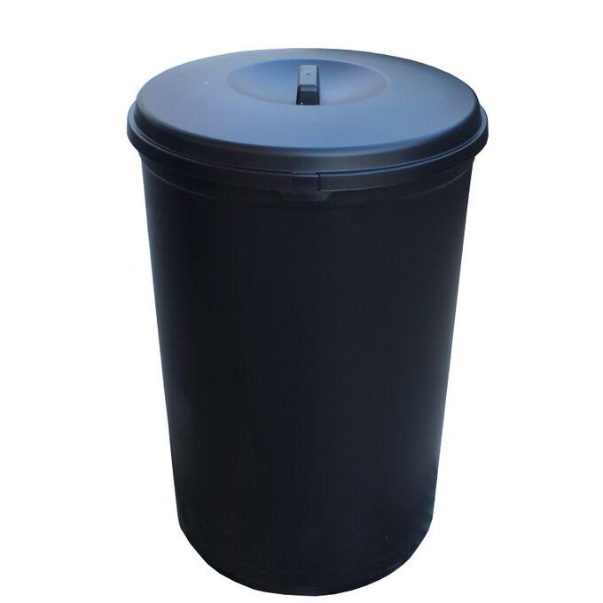 Κάδος Απορριμάτων 60lt Ø42x60.5cm 1.79kg Πλαστικός με Καπάκι Μαύρος Ελλάδας