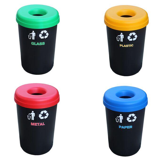 Κάδος Ανακύκλωσης 60lt Ø41x62.5cm 1.91kg Πλαστικός με Άνοιγμα Ø14cm στο Καπάκι Μαύρος Ελλάδας