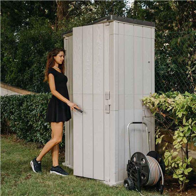 TOOMAX ITALY Αποθήκη Κήπου Βαρέως Τύπου Πλαστική 1670lt 130x75.6x206.2cm 44kg MASSIF HIGH STORA WAY TAUPE GREY/ANTHRACITE