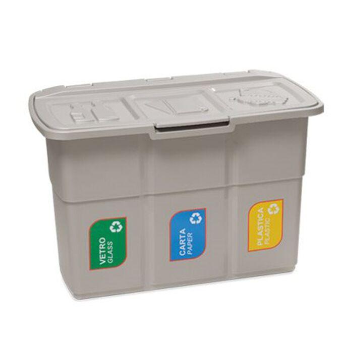 Κάδος Ανακύκλωσης Απορριμμάτων 75lt Τριπλός 75x37x50cm Πλαστικός Επαγγελματικός/Οικιακός Με Ενιαίο Καπάκι 2.7kg Ecopat Warm Grey/Γκρι