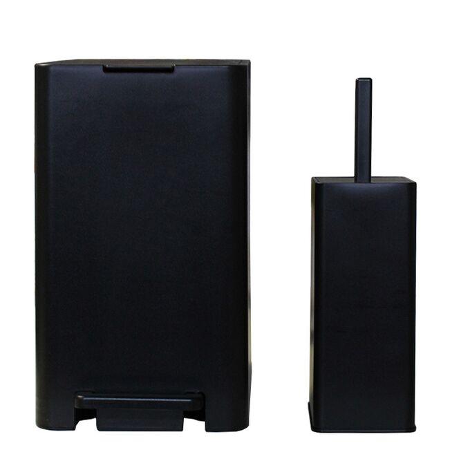 Σετ Κάδος Μπάνιου με Πεντάλ 17lt με Εσωτερικό Κάδο 10lt και Πιγκάλ Πλαστικό SOFT CLOSE Μαύρο Ελλάδας