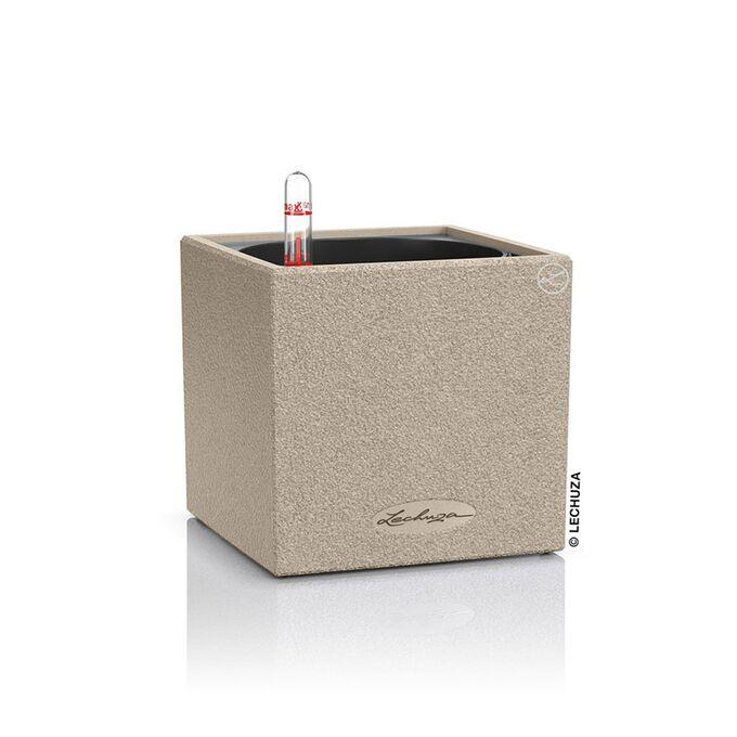 LECHUZA Canto Stone Low 14 Επιτραπέζια Γλάστρα 14x14x13.5cm Αυτοποτιζόμενη με Δοχείο SAND BEIGE Γερμανίας