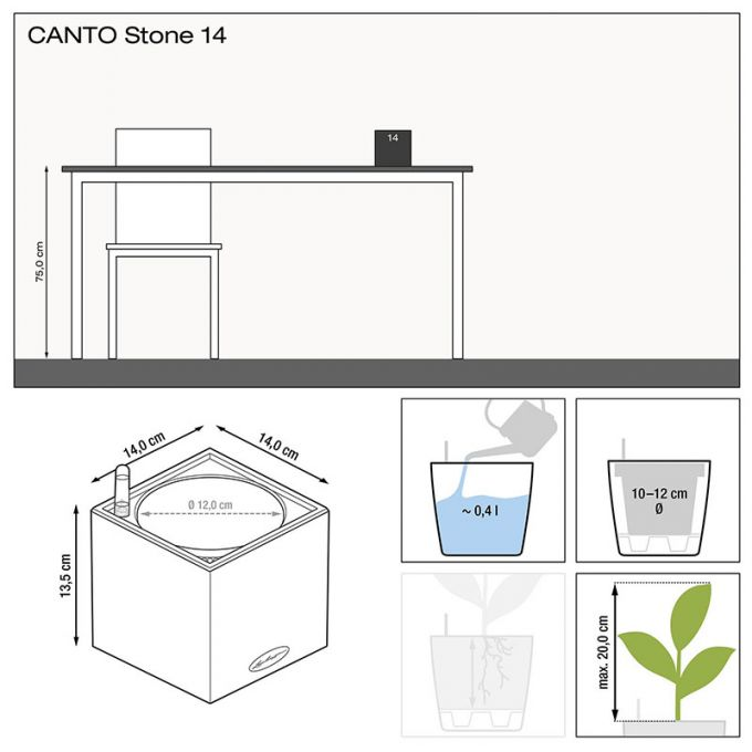 LECHUZA Canto Stone Low 14 Επιτραπέζια Γλάστρα 14x14x13.5cm Αυτοποτιζόμενη με Δοχείο STONE GREY Γερμανίας