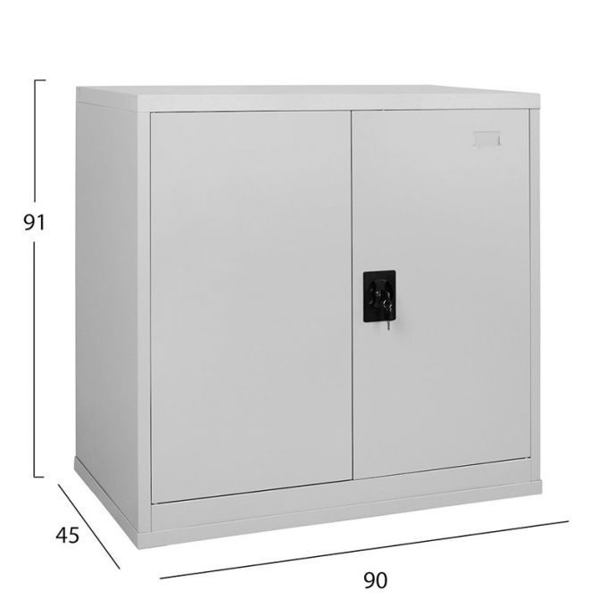 Μεταλλική Ντουλάπα 90x45x91cm Πάχους 0.6mm/0.8mm (πάτωμα) Γαλβανιζέ με 2 Ράφια - 3 Αποθηκευτικοί Χώροι STEELEN