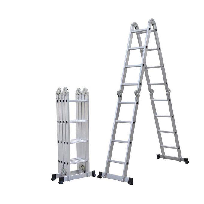 Πολυμορφική Σκάλα Αλουμινίου 4Χ4 70x226cm MAX Ύψος 4.62m MAX Αντοχή 150kg Πιστοποιήση EN131