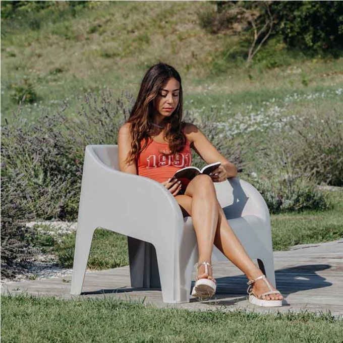 TOOMAX Πολυθρόνα-Καρέκλα Κήπου Στοιβαζόμενη 79x76.5x70cm Βάρος 6.8kg Petra Matte Taupe Grey Ιταλίας