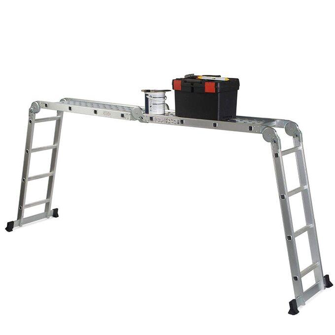 Σκάλα Αλουμινίου 4X4 Πολυμορφική 35x70x226cm ΜΑΧ Ύψος 4.62m με Πλατφόρμα MAX Αντοχή 150kg EN-131