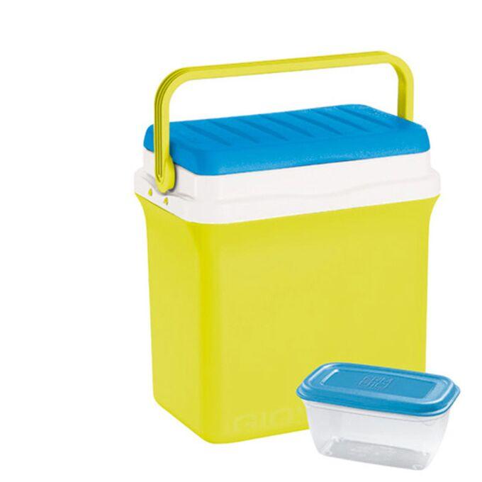 GIOSTYLE ITALY Φορητό Ψυγείο-Θερμός 29.5lt 41x27.5x40cm + Τάπερ 1L MAX Απόδοση 14 Ώρες CIAO!L Κίτρινο-Μπλε