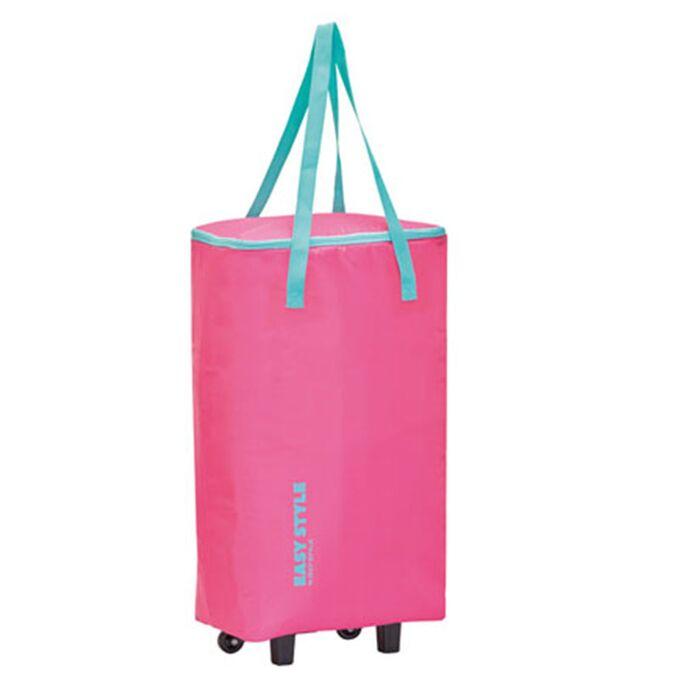 GIOSTYLE ITALY Ισοθερμική Τσάντα Τρόλεϋ 33x20x63cm Πάχος 4mm 44lt Πολυεστέρας 70D MAX Απόδοση 10 Ώρες Πιστοποίηση REACH EASY STYLE BAG-TROLLEY Ροζ