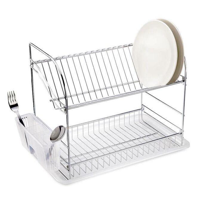 TEKNO-TEL Πιατοθήκη Στεγνωτήριο Πιάτων INOX (Ανοξείδωτο Ατσάλι) 2όροφο 40x23x35cm Βάρος 1.56kg 18 Θέσεις Πιάτων με Θήκη και Δίσκο