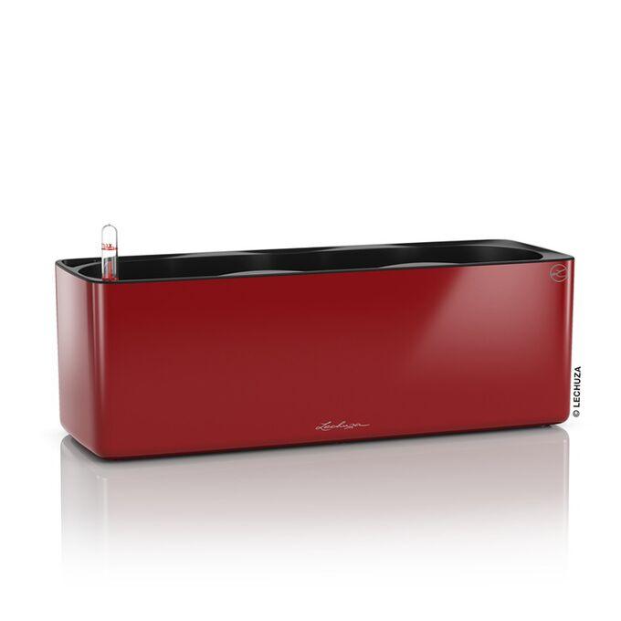 LECHUZA CUBE Glossy Triple Επιτραπέζια Γλάστρα 40x14x14cm Αυτοποτιζόμενη με Εσωτερικό Δοχείο Scarlet Red Γερμανίας