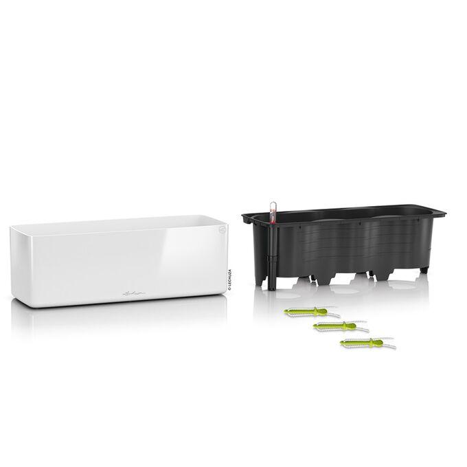 LECHUZA CUBE Glossy Triple Επιτραπέζια Ζαρντινιέρα 40x14x14cm Αυτοποτιζόμενη με Εσωτερικό Δοχείο White Γερμανίας