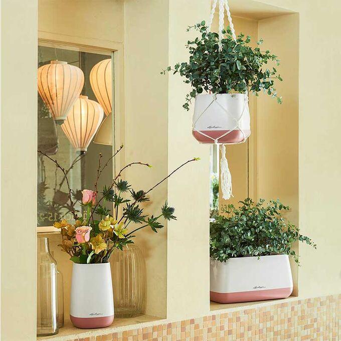 LECHUZA YULA Flower Διακοσμητικό Βάζο-Ανθοδοχείο 14x14x21cm White-Grey Γερμανίας