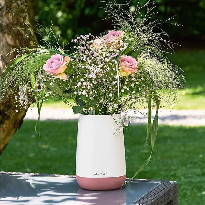 LECHUZA YULA Flower Διακοσμητικό Βάζο-Ανθοδοχείο 14x14x21cm White-Pearl Rose Γερμανίας