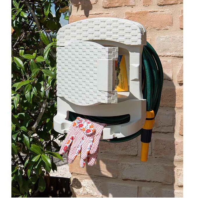 TOOMAX FASHION ITALY Βάση Λάστιχου + Λάστιχο 15 Μέτρα 29x20x37cm Πλαστική με Αποθηκευτικό Χώρο RATTAN STYLE TUBO PLUS Κρεμ