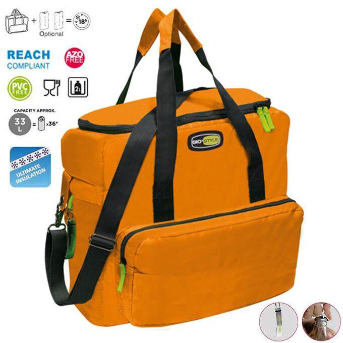 GIOSTYLE ITALY Ισοθερμική Τσάντα 42x18x37cm Πάχος 10mm 33lt Πολυεστέρας 420D MAX Απόδοση 18 Ώρες Πιστοποιήσεις Azo FREE/REACH VELA+ XL Πορτοκαλί