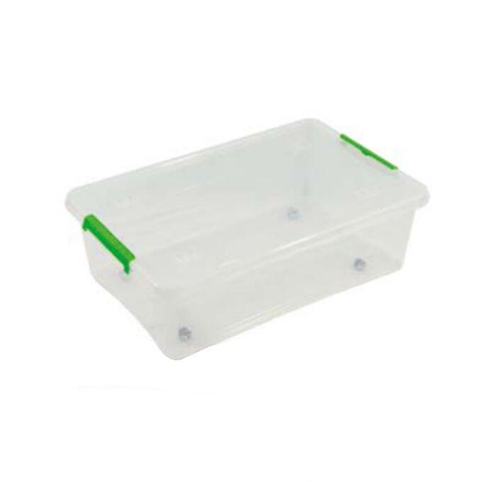 ARTPLAST ITALY Κουτί Αποθήκευσης Πλαστικό 58.5x39x17cm 25lt με Κλιπς και Ρόδες Διάφανο