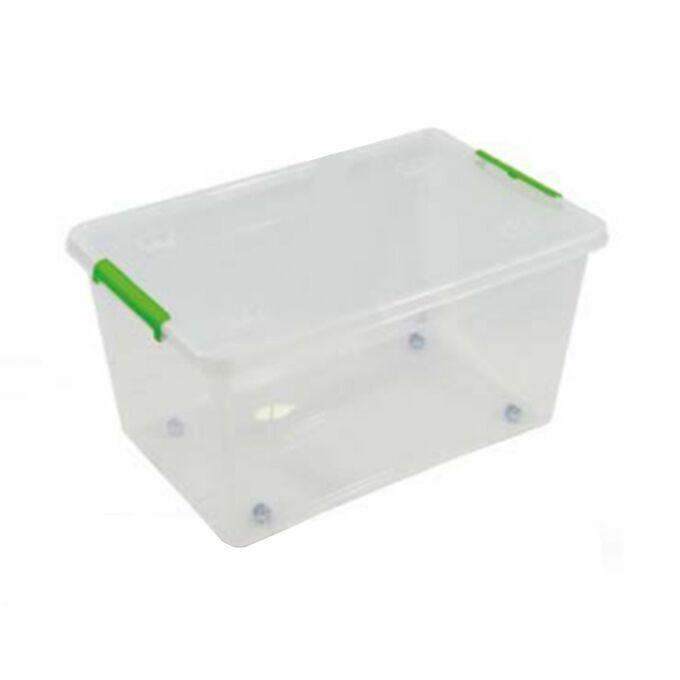 ARTPLAST ITALY Κουτί Αποθήκευσης Πλαστικό 58.5x39x30cm 43lt με Κλιπς και Ρόδες Διάφανο