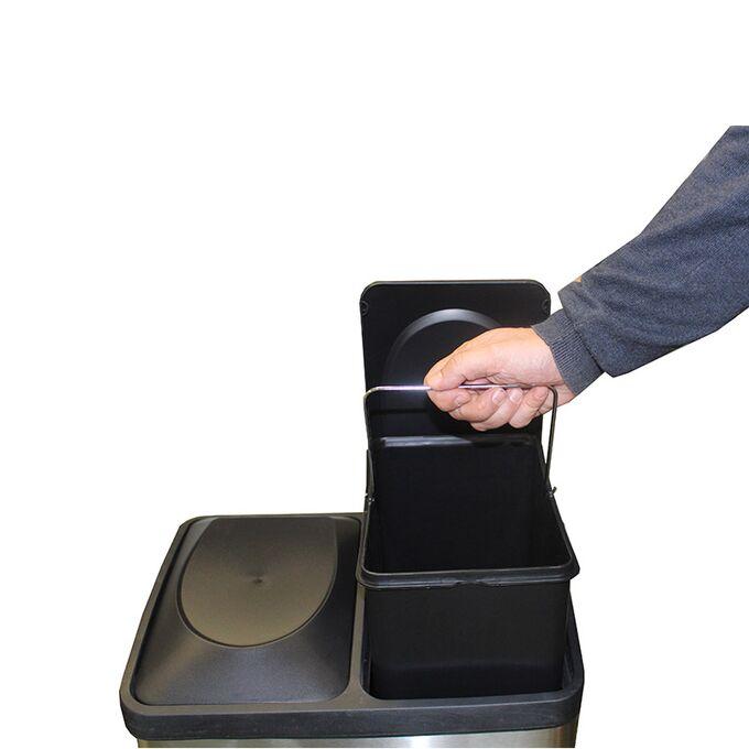 VESTA Κάδος Απορριμμάτων ΙΝΟΧ 40lt 39.6x30x59.2cm με Πεντάλ 2 Θέσεων 2 Εσωτερικούς Κάδους Ανακύκλωσης 6.8Kg Κουζίνας