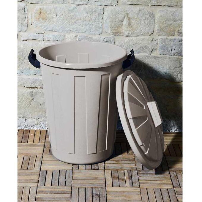 Κάδος Απορριμάτων 60lt Ø44x65cm Επαγγελματικός Πλαστικός με Καπάκι και Κλιπς 1.85kg Γκρι-Καφέ