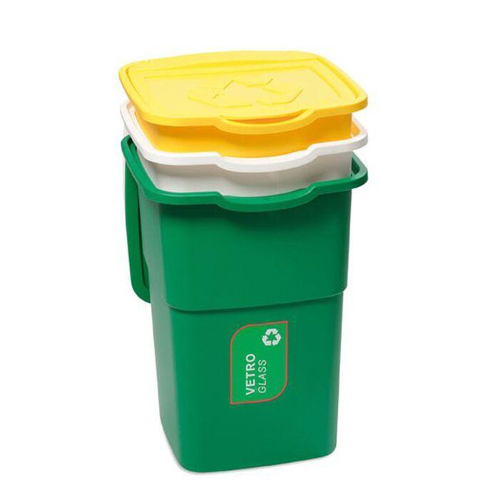 Σετ 3 Κάδοι Ανακύκλωσης 50lt (x3) Πλαστικοί για Επαγγελματική ή Οικιακή Χρήση 39x36x54cm (x3) Eco 3 Πράσινο/Κίτρινο/Λευκό