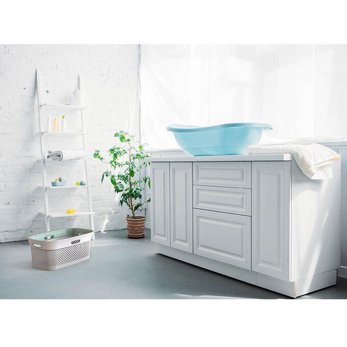 Καλάθι Ρούχων 59x39x26cm 45lt Πλαστικό 1.37kg με Σχέδιο Μάλλινου Πλεκτού WOOLLY Λευκό - Taupe με Τέσσερις Λαβές DEA HOME ITALY