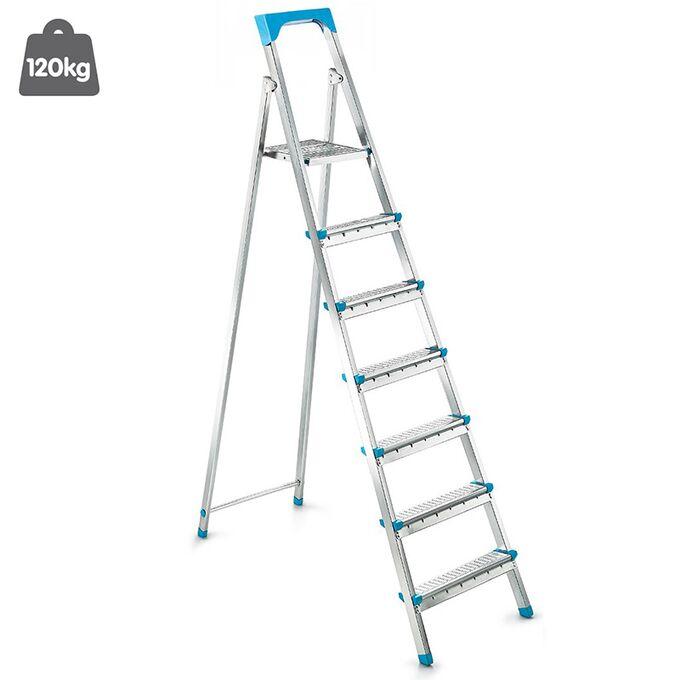 Σκάλα Γαλβανιζέ με 6+1 Σκαλιά 46.5x124x189.5cm Βάρος 7.32kg Αντοχή 120kg