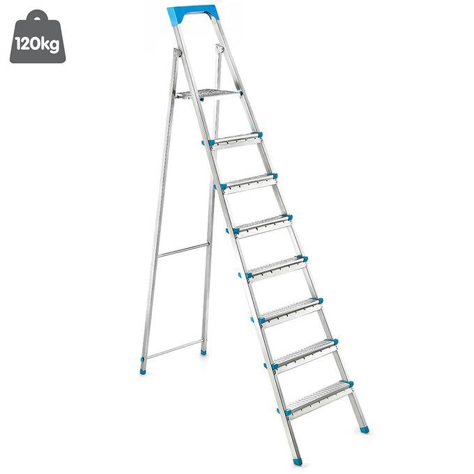 Σκάλα Γαλβανιζέ με 7+1 Σκαλιά 48.5x139x211.5cm Βάρος 9.13kg Αντοχή 120kg