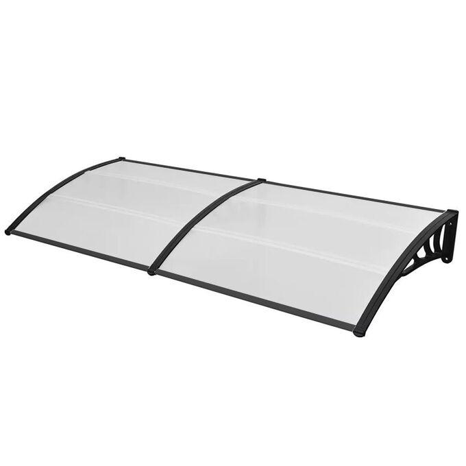 VESTA Στέγαστρο Πόρτας/Παραθύρου 200x80cm Πλαστικό ABS Αλουμίνιο Πάχους 1mm Πολυκαρμπονικό Πάνελ Πάχους 5mm 4.5kg Ανθρακί-Διάφανο
