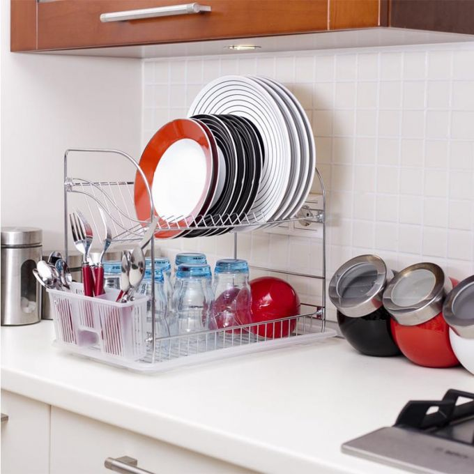 TEKNO-TEL Πιατοθήκη Στεγνωτήριο Πιάτων Επιχρωμιωμένο Ατσάλι 2όροφο 40x23x35cm Βάρος 1.56kg 18 Θέσεις Πιάτων με Θήκη και Δίσκο