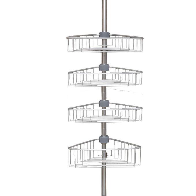 Τηλεσκοπική Ραφιέρα Μπάνιου 4όροφη Γωνία 35x21.5x135-270cm Ρυθμιζόμενο Ύψος με 4 Ράφια Αλουμινίου (Χωρίς Εργαλεία)