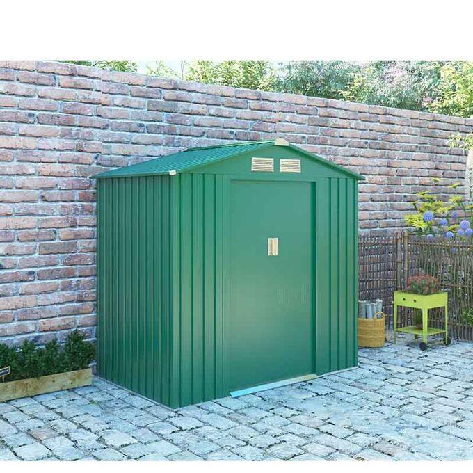Μεταλλική Αποθήκη Κήπου - Σπιτάκι Κήπου 201x121x190 (6.6'x4') 4.62m³ Γαλβανιζέ Polis Πράσινη LILYSHED