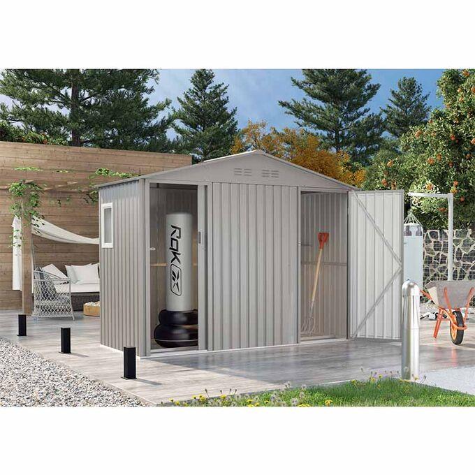 Μεταλλική Αποθήκη Κήπου - Σπιτάκι Κήπου 277x127x209cm (9.1'x4.2') 7.35m³ Γαλβανιζέ με Παράθυρο 2 Πόρτες-Χώρους BING A Γκρι Lilyshed