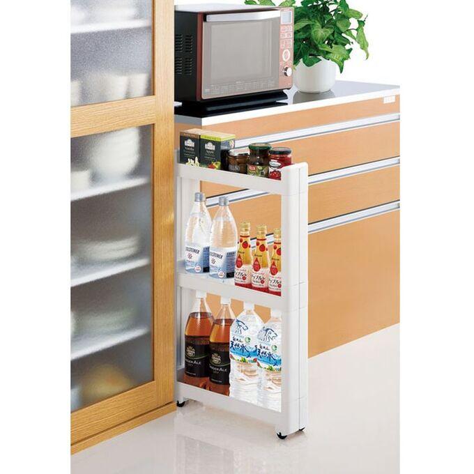 Τρόλεϊ Κουζίνας/Μπάνιου 49.5x14x68cm Πλαστικό 3όροφο με Ρόδες Ανθρακί