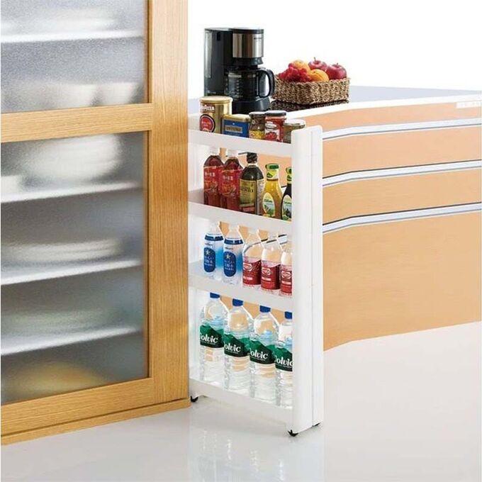 Τρόλεϊ Κουζίνας/Μπάνιου 49.5x14x101cm Πλαστικό 4όροφο με Ρόδες Λευκό